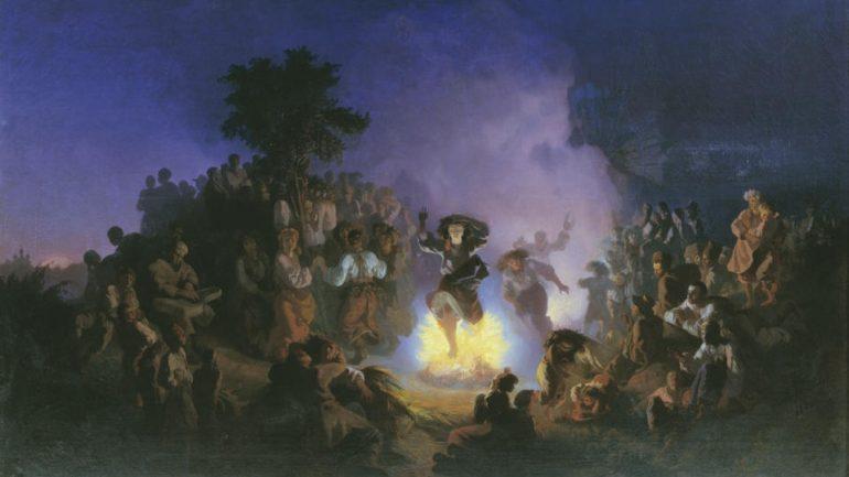 Skoki przez ognisko w Noc kupały (Iwan Sokołow, 1856)